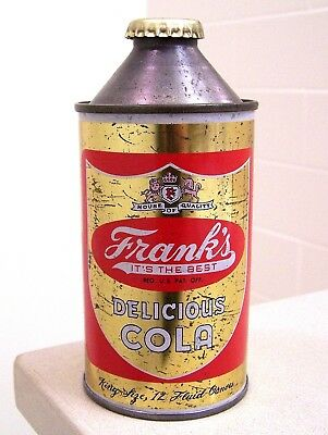 **Rare vintage c. 1950s FRANK'S COLA cone top soda can from Philadelphia, PA