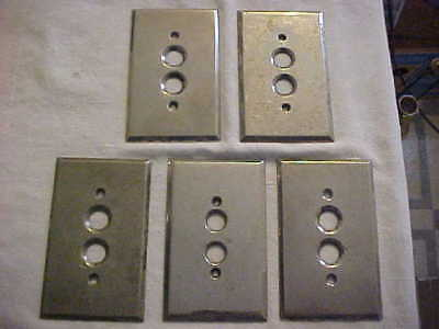 5 Antique Vintage Nickel Plated Milled Brass Push Button Switch Gang Plates