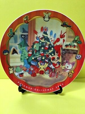*rare* Pokemon Center Christmas 2003 Decorative Plate W/stand *brand New* Import
