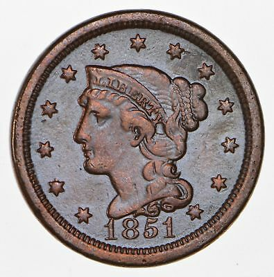 160 Years OLD - 1851 - US Type Coin Braided Hair Large Cent - Nice Shape *686