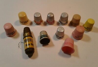 Vintage Lot Of Thimbles & 1 Sewing Kit Dallas Texas Some Very Neat Advertising