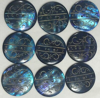 Inscribed Tinted MOP Antique Button Lot of 9 BEAUTIES!!
