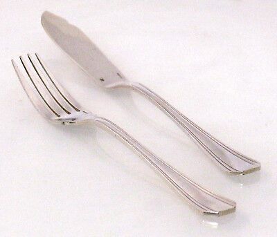 Christofle Cutlery - Fish Knife & Fork (Boreal, Art Deco, Silver-plated)