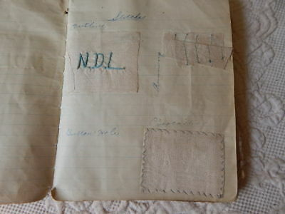 Antique Hand Made Sewing Reference Book Fabric & Stitch Samples Dated 1914