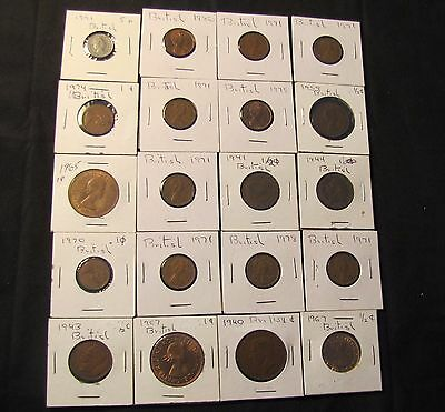 Lot of 20 Great Britain Coins - 11x New Penny, 5x Half Penny, 3x Penny, 1991 5