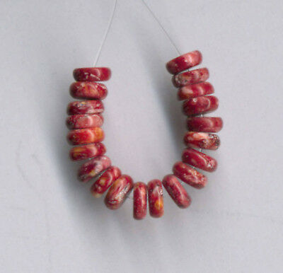 """TWENTY (20) RED SPINY OYSTER 6MM HEISHI/BUTTON BEADS - 2"""" Strand - 2219"""