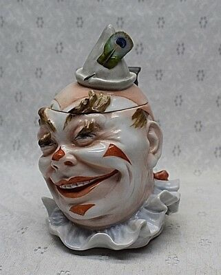 Antique Porcelain Character Beer Stein Laughing Clown Jester Scary MUSTERSCHUTZ