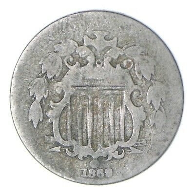 First US Nickel - 1869 Shield Nickel - US Type Coin - Over 100 Years Old! *464