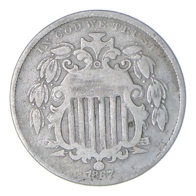 First US Nickel - 1867 Shield Nickel - US Type Coin - Over 100 Years Old! *468