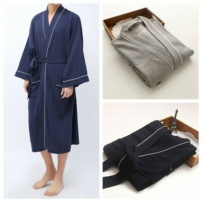 Mens Soft Cotton Bathrobe Waffle Hotel Lightweight Dressing Gown Robe 3