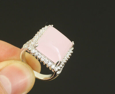 Square Topaz .925 Solid Sterling Silver Ring Size 7 #13942