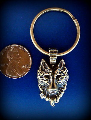 WOLF HEAD Keychain Jewelry - Vintage Antique Art Deco Style - Canine Wolf