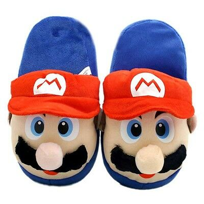 Super Mario Bros Mario Plush Slippers Red (One Size Fits All)