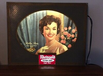 Vintage 1950's Miss Rheingold Beer Lighted Changeable Sign 1959 Miss Robbin Bain