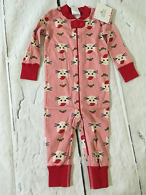 Hanna Andersson Pink Kitty Claus Cat Holiday Sleeper Size 70 9-12 Mo Nwt