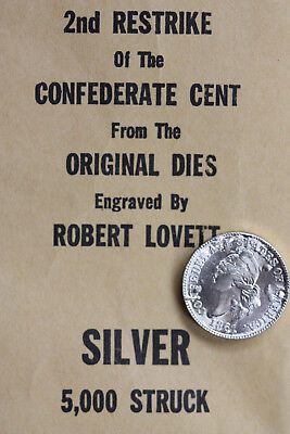 Silver Bashlow 1861 Confederate states one Cent restrike with original envelope