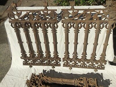 10 Antique Cast Iron Lacework Verandah Panels 79cm X 48 cm. Price is per panel.