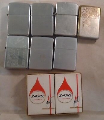 lot of 7 vintage zippo cigarette lighters  & 2 boxes