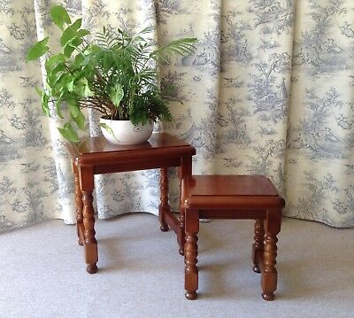 Pretty Vintage French Pair Of Tables - Cherry Wood - Nest Of Tables - Turned Leg