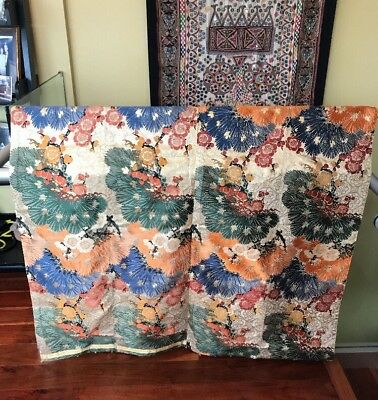 Antique / Vintage VERY VERY LARGE Asian Motif BEAUTIFUL GOLD Pillow Case/ FABRIC
