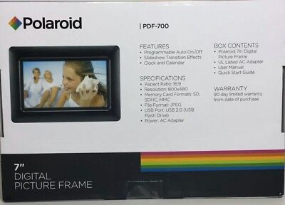 "Polaroid 7"" Digital Wood Picture Frame New Item"