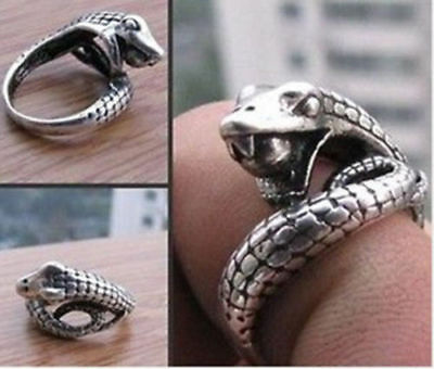 Tribal jewelry Tibet silver carved snake ring size7