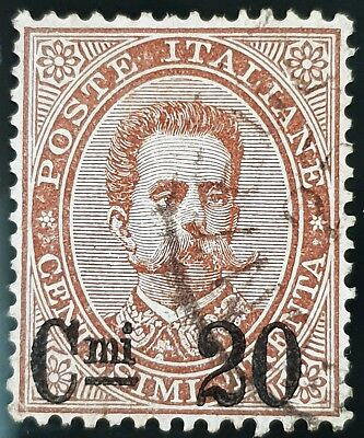 Italy 1890 to 1891 Used HR 20c on 30c Overprint Brown Stamp