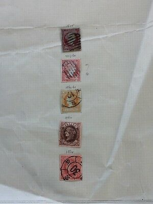 SPAIN Used Stamp Collection - 5 stamps from 1855 all 4 Cuartos. Hinged on sheet