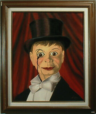 Charlie McCarthy Ventriloquist Painting, Dummy Doll Toy