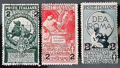 Italy Sg # 91 to Sg # 93 Used HR Overprint Stamps CV £ 22.50