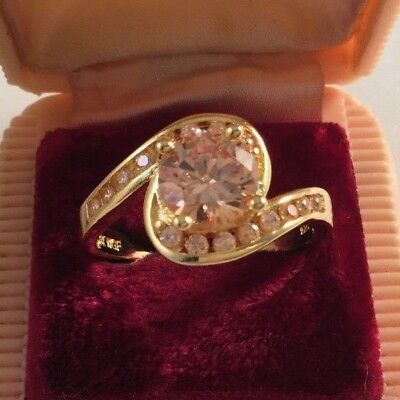 Vintage Jewelry Gold Ring with Large Champagne Sapphire Stone Antique Jewellery