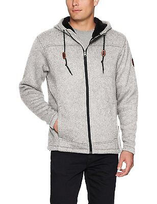 Free Country Mens Hooded Sherpa Lined Sweater Fleece Jacket