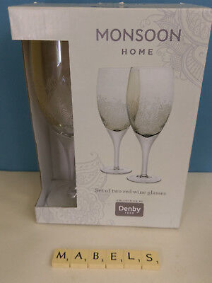 DENBY ~LUCILLE GOLD~ red wine glasses x 2 boxed *new*