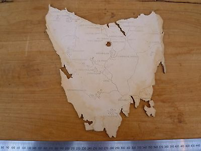 Vintage Old Large Size Timber Backed Tasmanian Map, Old Island Map (D568)