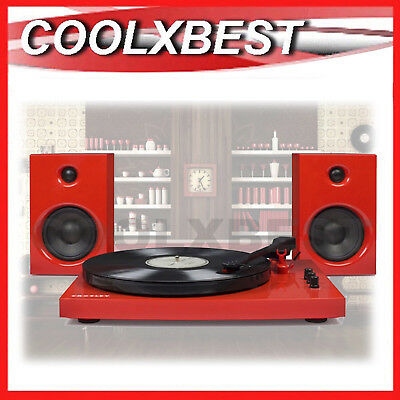 NEW CROSLEY T100 RECORD TURNTABLE BLUETOOTH STEREO SYSTEM w SPEAKERS 30w RED