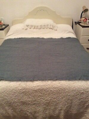 Large Thick Blue Vintage St Albans Aus Made Pure Mohair Blanket Throw Nana Rug