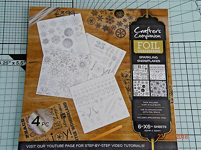 """New - Crafter's Companion-Foil Transfers- 6"""" X 6"""" Sheets - Snowflakes/Sentiments"""