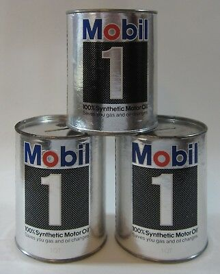 Vtg Mobil 1 Oil Can Bank Synthetic Pegasus Promo Advertising 1 Quart Lot of (3)