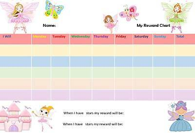 Reusable A4 Fairy Princess Reward Chart  includes stickers, adhesives & free pen