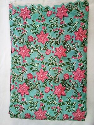 By Yard Indian Floral Bird Print Hand Block Cotton Fabric Dressmaking Sewing Art