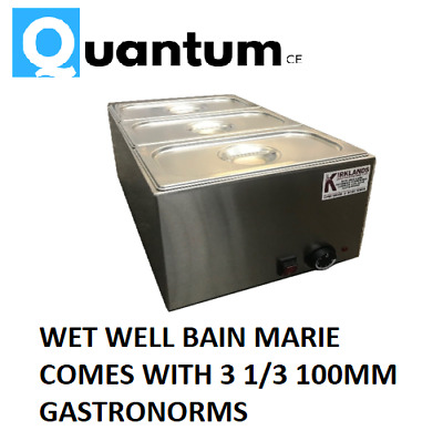 Wet well bain marie with tap hot food sauce warmer with 1/3 gastronorm and lids