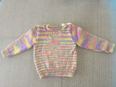 Hand Knitted Baby Jumper 3 months Yellow/Pink/blue