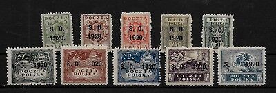 EAST SILESIA / POLAND 1920 ~ SO Opts ~ Complete Set ~  MH