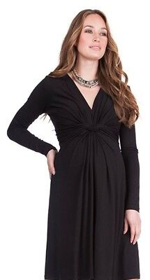 seraphine knot front long black maternity dress, size 12. Worn once, EX cond