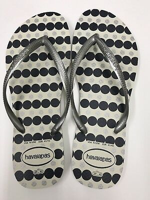 da424189c HAVAIANAS SP13 SLIM Fresh Flip Flop White Lake Green Polka Dot New ...