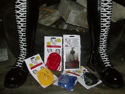 SKINHEAD BIKER STOMPIN BOOT LACES IN 6 LENGTHS & 13 COLOURS METAL TIP 5mm CORD