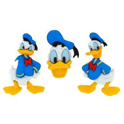 Donald Duck Buttons - Pack of 3 Disney Donald Duck Embellishment - New Baby