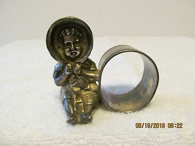 Barbour Silver Company Quadruple Plate #12 Napkin Ring With Baby Figure