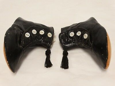 ANTIQUE VICTORIAN Child's Baby SHOES High Top Button Black Kid Leather Tassels