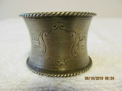 """Unmarked Silver Napkin Ring With The Initials """"l N C"""""""